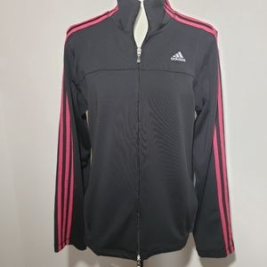 Adidas track jacket black with pink stripes size L